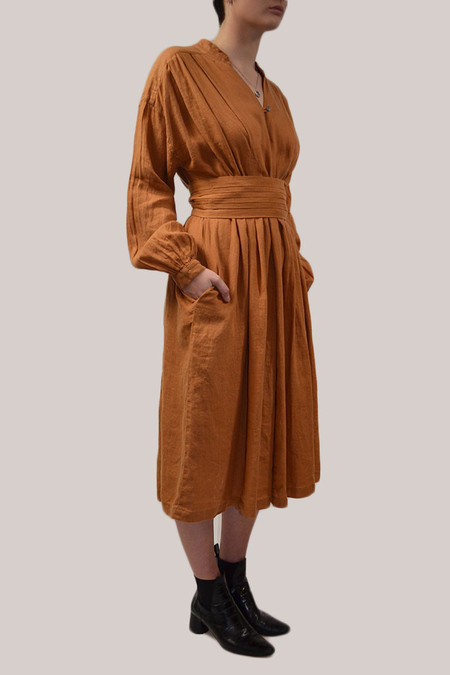 Black Crane Poet Dress | Rust