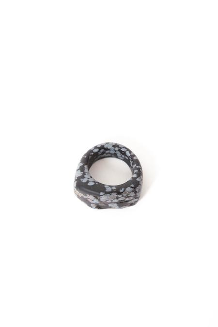Margaret Hinge Snowflake Obsidian Ring