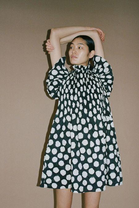Sea NY Arline Polka Dot Smocked Dress - Navy