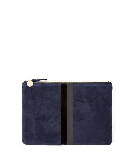 Clare V. Flat Clutch w. tabs - Navy Suede