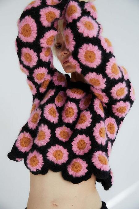 Tach Clothing Alana Crochet Sweater - Pink Flower