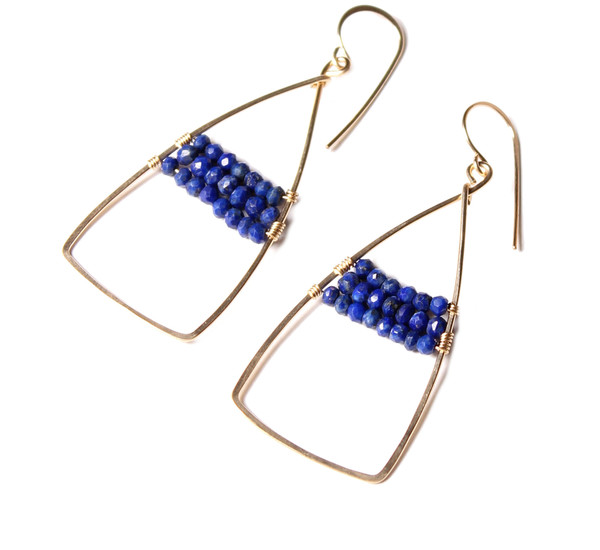James and Jezebelle Lapis Paddle Earring