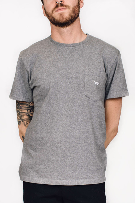 Maison Kitsune Fox Grey Embroidered T-shirt