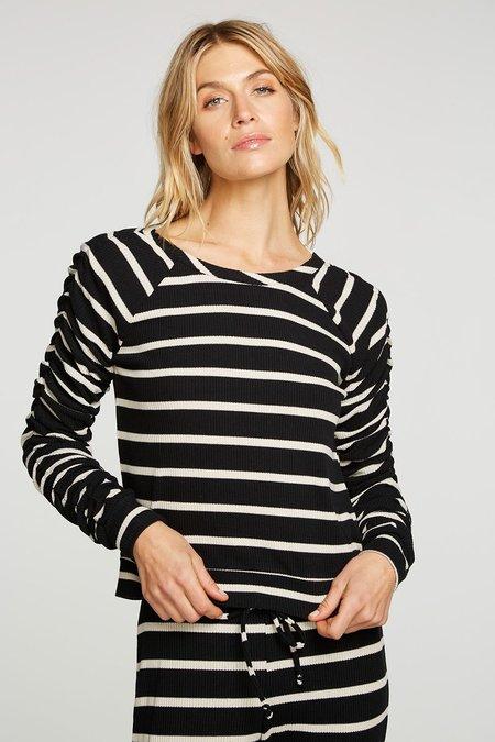 Chaser Rpet Love Rib Shirred Long Sleeve Raglan Pullover - black/white