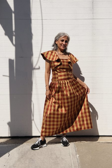 BATSHEVA Long Bow Dress - Black/Gold Check