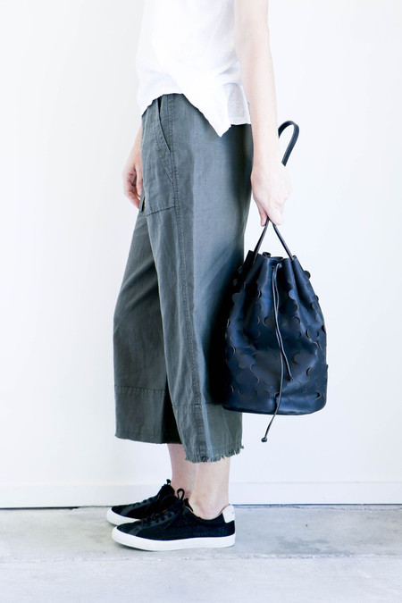Modern Weaving Crescent Bucket Bag in Black