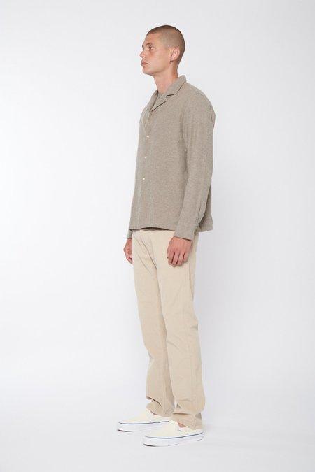 Officine Generale Eren Long Sleeve Brushed Organic Cotton Twill Shirt - Walnut