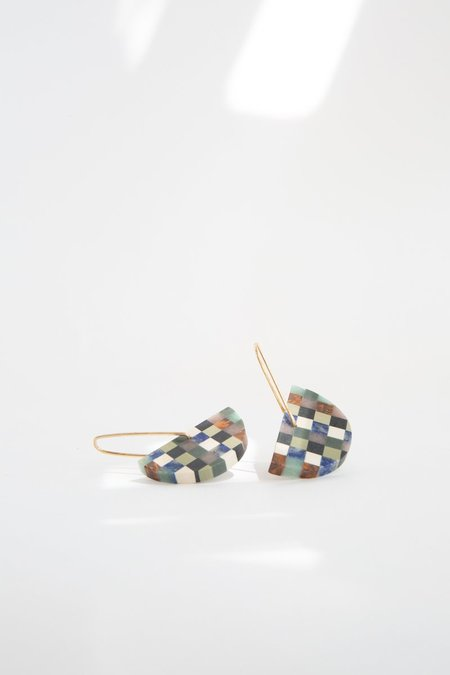 ALISON JEAN COLE Checkered Stone Earrings - Gold