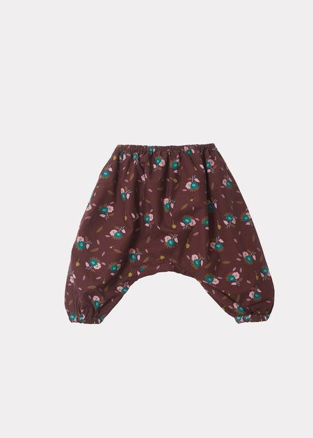 Kids Caramel Faraday Baby Trousers - Brown Thistle Print