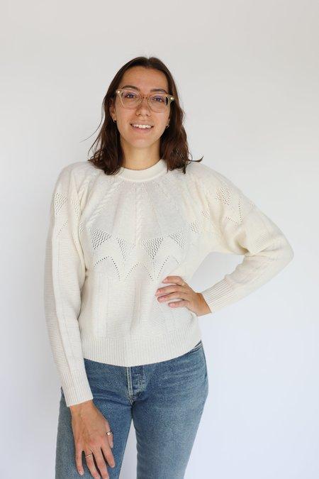 Autumn Cashmere Cable Yoke Crew Sweater - Chalk