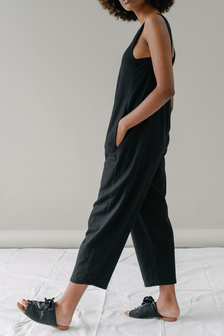REIFhaus Lou Jumpsuit in Black Linen