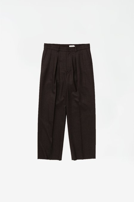 Still By Hand Wide wool pants - dark brown