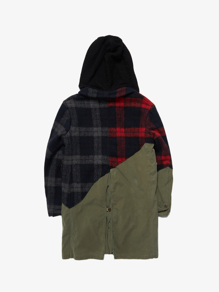 [Pre loved] Greg Lauren 50 / 50 Mixed Wool Plaid / Army Trench Coat
