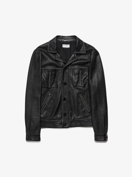 Saint Laurent Paris M Black Metal Studded Buttoned Leather Jacket
