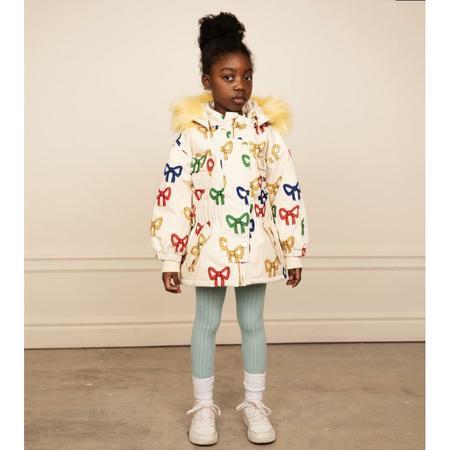kids mini rodini bow soft ski jacket - off white