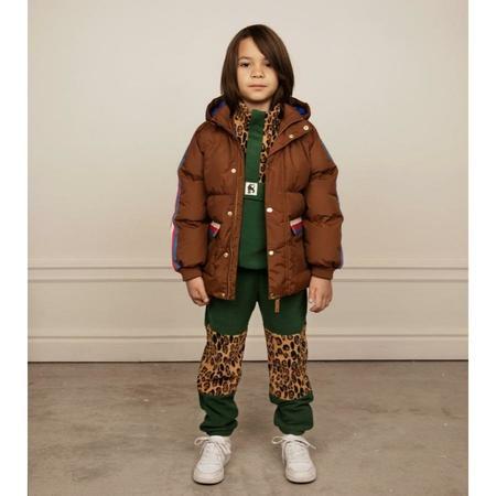 kids mini rodini fleece panel trousers - green
