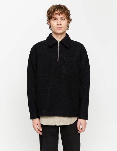 Schnayderman's Half zip boiled wool solid sweater - black