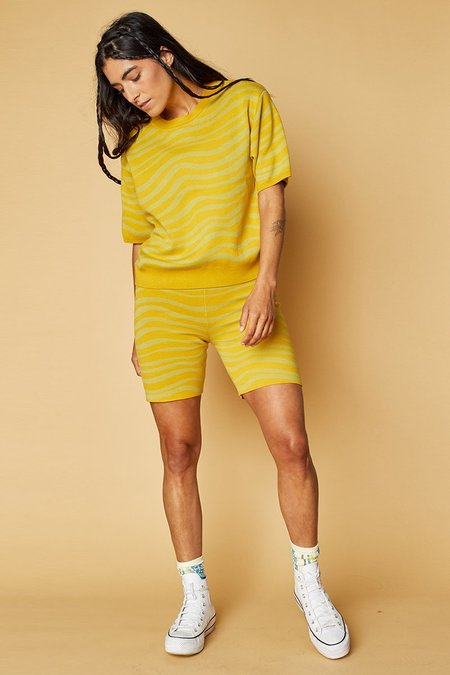 Back Beat Co. Organic Cotton Tidal Bike Shorts - Canary/Celery