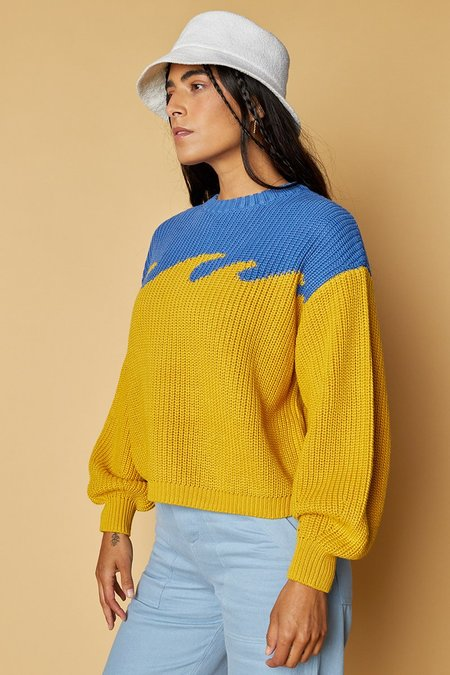 Back Beat Co. Organic Cotton Wave Sweater - Ocean/Canary