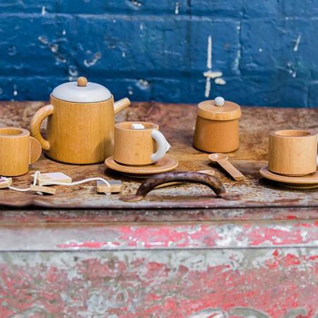 Make Me Iconic Tea Set Toy - Natural Wood