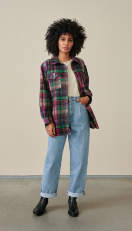 Bellerose Ari Shirt Jacket - Fuschia/Green Plaid