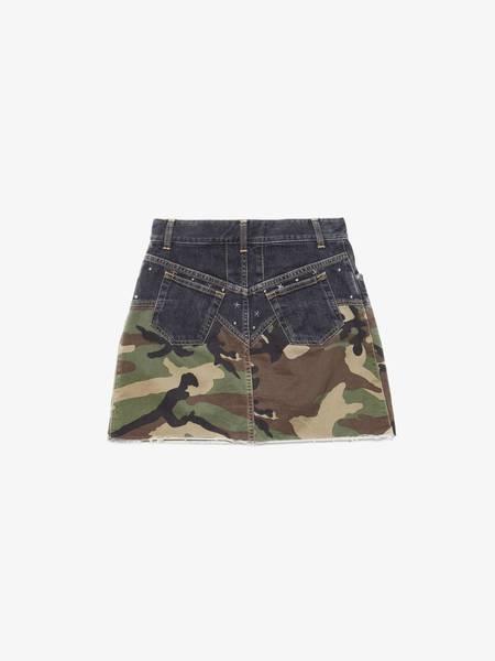 [Pre-Loved]Saint Laurent Paris Women Dark Gray and Camo Star Studded Raw Hem Skirt