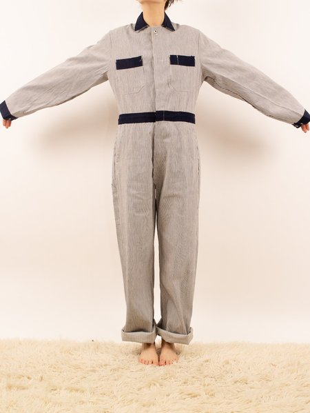 vintage 1970's deadstock hickory stripe workwear coveralls - navy/white stripes