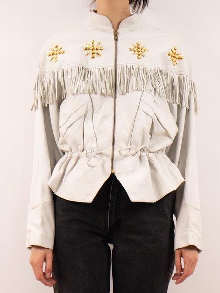 Vintage 1980's Leather Fringe Jacket - White