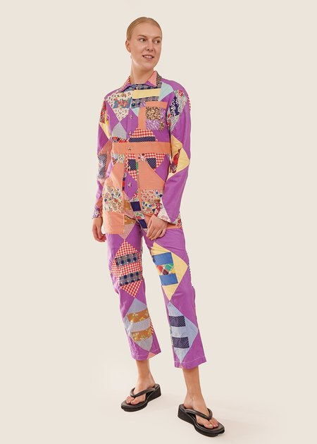 Unisex The Series Quilted Patchwork Jumpsuit - Purple