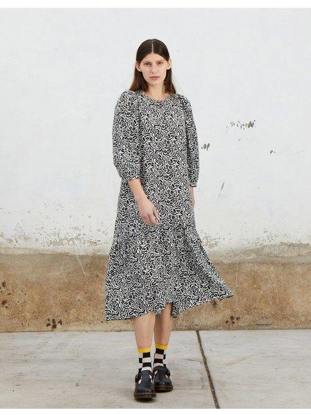 Ali Golden Peasant Dress - Gray