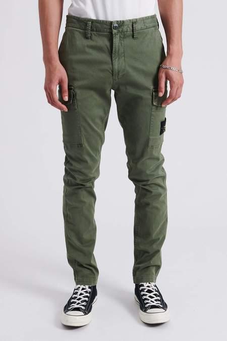 Stone Island Stretch Broken Twill Cotton Garment Dyed Cargo Pants - Sage