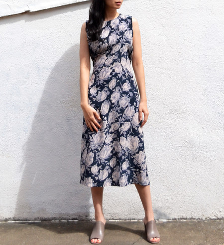 No.6 Navy Watercolor Floral Mona Dress