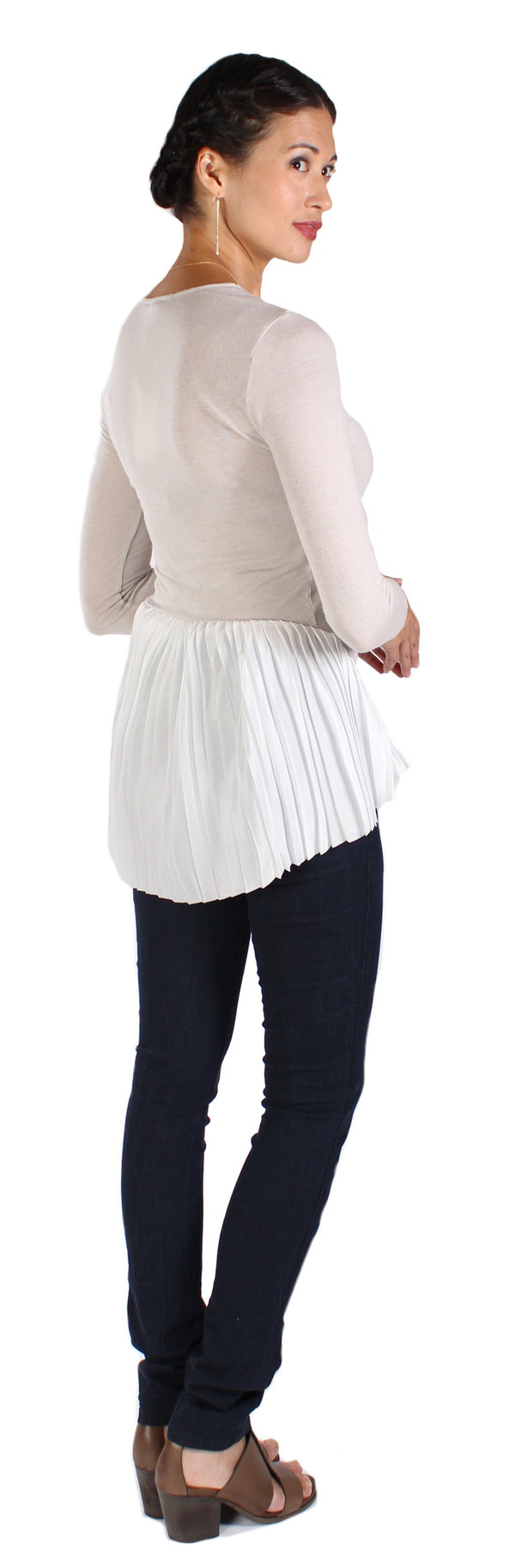 Clu Pleated V-neck Top