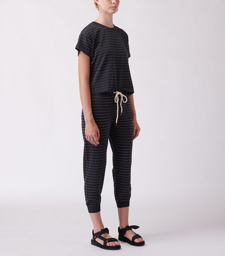 The Great. The Swiss Dot Cropped Sweatpant - Almost Black