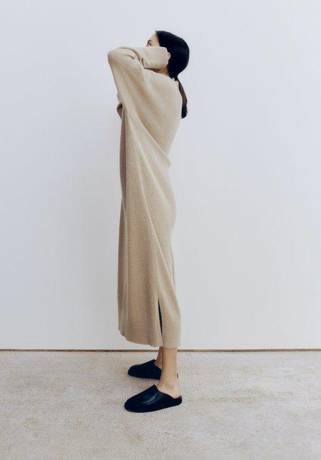 Mónica Cordera Baby Alpaca V Neck Dress - Pale Olive