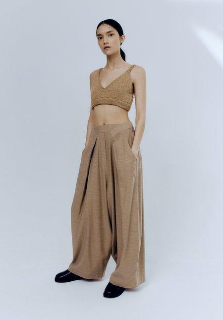 Mónica Cordera Soft cotton pleated pants - Caramel