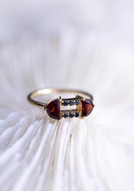 Lindsay Lewis Fine Garnet and Black Diamond Portia Ring