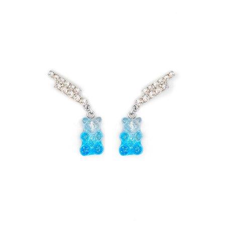 Joomi Lim Double Crystal Bar Earrings - Gummy Bear Charms