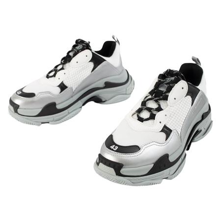 Balenciaga White & Silver Triple S Sneakers