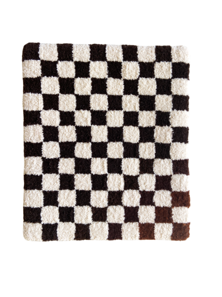 brown checker rug