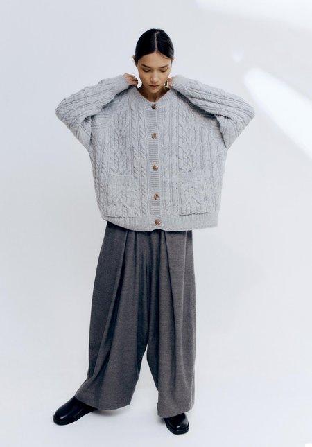 Mónica Cordera Ecowool Cable Cardigan - Silver Grey