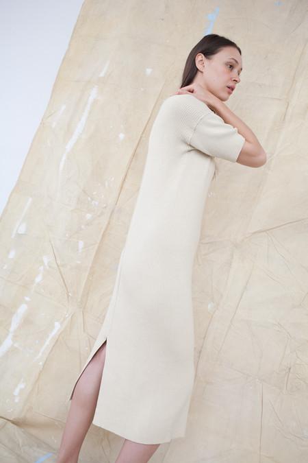 Lauren Manoogian Cashmere Rib Dress in Almond