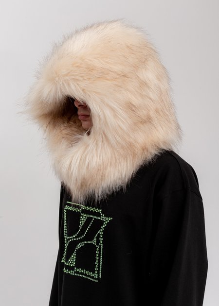 we11done Faux Fur Quilting Hood - Beige