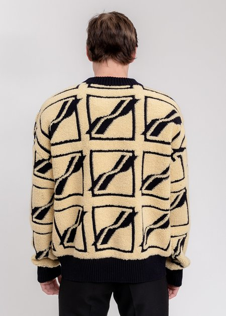 we11done Square Logo All Over Pile Knit Jumper - Beige