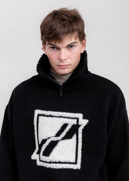we11done Square Logo Pile Knit Jumper - Black