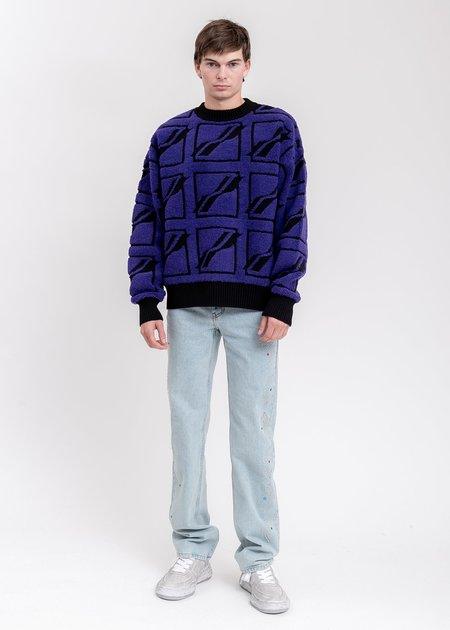 we11done Square Logo All Over Pile Knit Jumper sweater - Blue