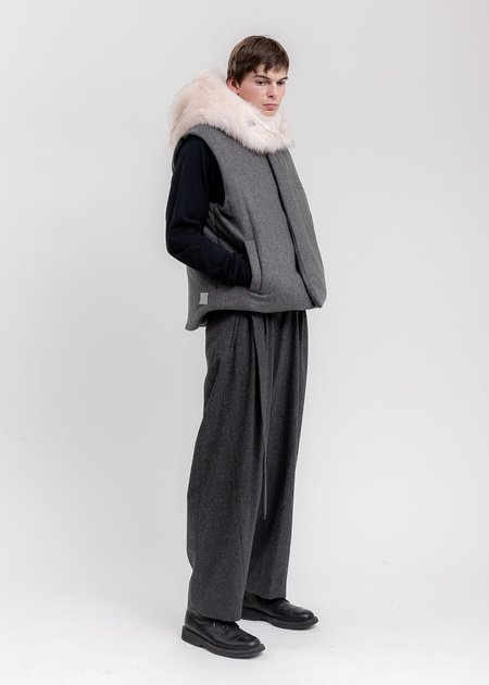 we11done Padded Flannel Vest - Grey
