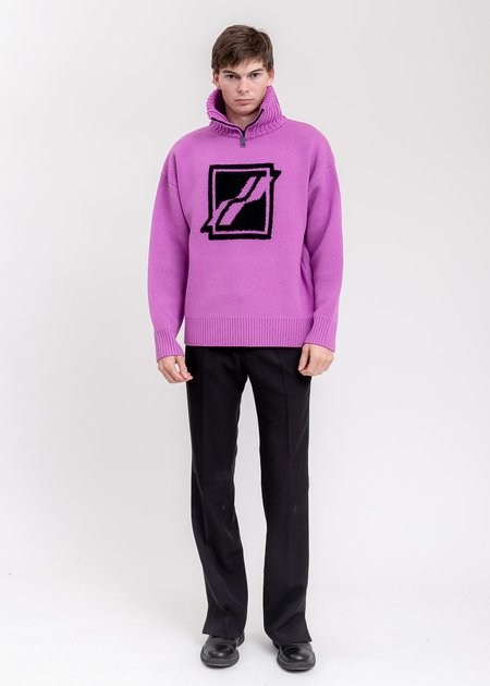 we11done Square Logo Pile Knit Jumper sweater - Purple