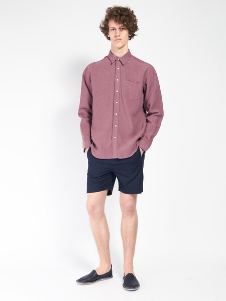 Schnayderman Leisure Linen Shirt Burgundy