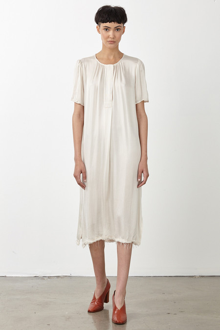 Raquel Allegra CHAMPAGNE LIQUID SATIN RIBBON PLACKET DRESS